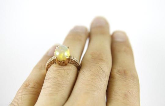 Other Oval Fire Opal Gemstone & Diamond Lady's Solitaire Ring 14k RG 2.600Ct Image 2
