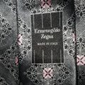 Ermenegildo Zegna Silk Grey with Black Accents and Pink Floral Design New Without Tags Tie/Bowtie Image 4
