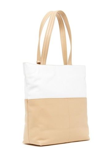 Cole Haan Leather Leather Summer Tote in Birch Sandstone/White Image 1