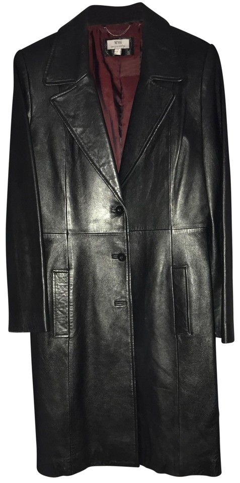 Mango Black Genuine Lamb Leather Coat Size 8 M Tradesy