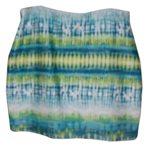 Cato Mini Skirt shades of teal, chartreuse & white