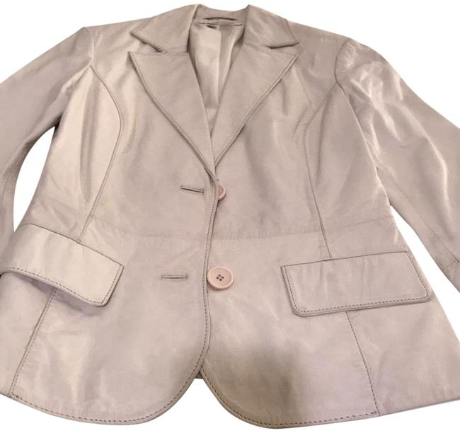 Item - Leather Cream Fitted Jacket Size 4 (S)