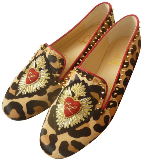 Christian Louboutin Fur Italian Studded Spike Brown/Leopard Flats Image 0