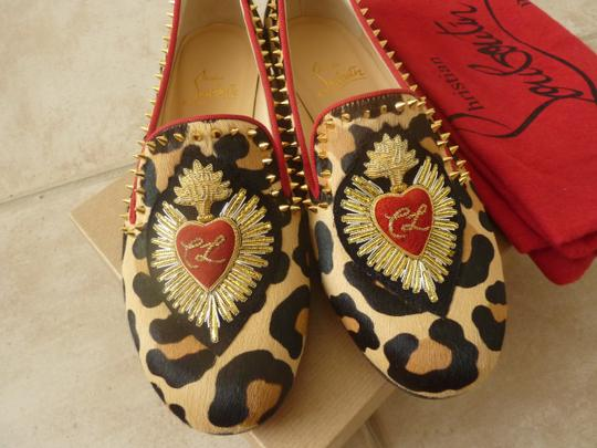 Christian Louboutin Fur Italian Studded Spike Brown/Leopard Flats Image 2