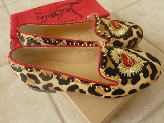 Christian Louboutin Fur Italian Studded Spike Brown/Leopard Flats Image 7