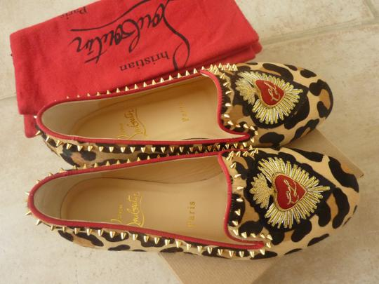 Christian Louboutin Fur Italian Studded Spike Brown/Leopard Flats Image 9