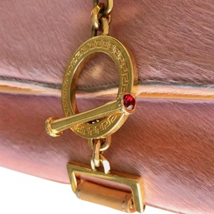 Versace Rare Couture Exotic Pouch Gold Pink Yellow Clutch