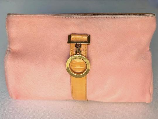 Versace Rare Couture Exotic Pouch Gold Pink Yellow Clutch Image 1
