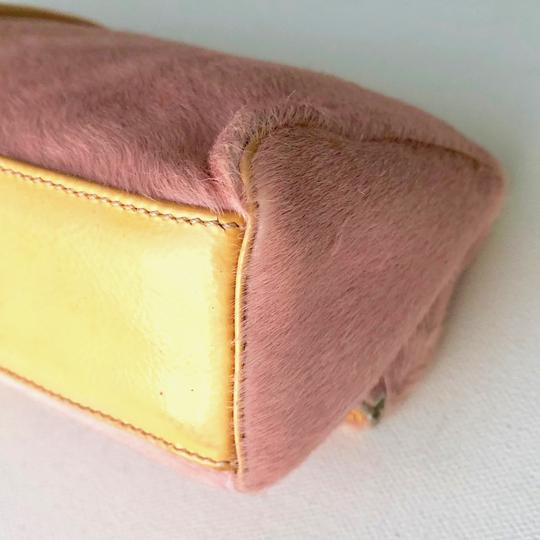 Versace Rare Couture Exotic Pouch Gold Pink Yellow Clutch Image 9
