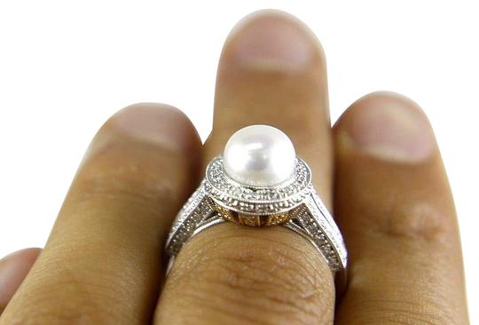 Other Freshwater Pearl & Diamond Halo Solitaire Ring 14k WG 9mm .32Ct Image 1