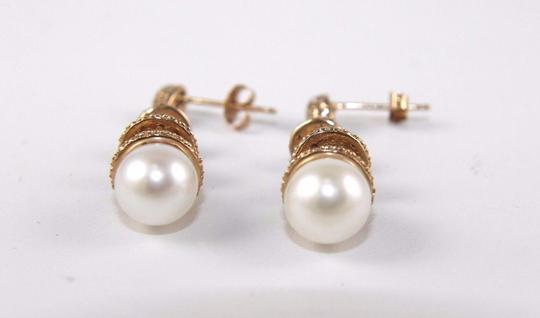 Other Freshwater Pearl & Diamond Dangle Earrings 14k Rose Gold 8.5mm .42Ct Image 1