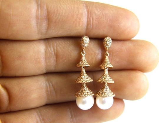 Other Freshwater Pearl & Diamond Dangle Earrings 14k Rose Gold 8.5mm .42Ct Image 2