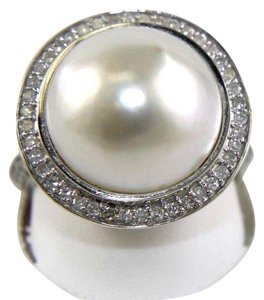 Other Huge Mother of Pearl & Diamond Pave Halo Solitaire Ring 14k White Gold