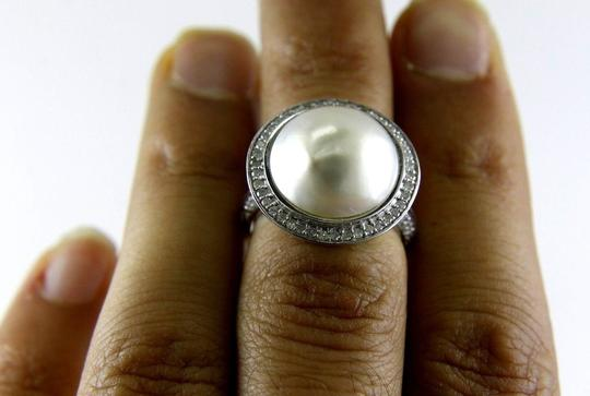 Other Huge Mother of Pearl & Diamond Pave Halo Solitaire Ring 14k White Gold Image 2