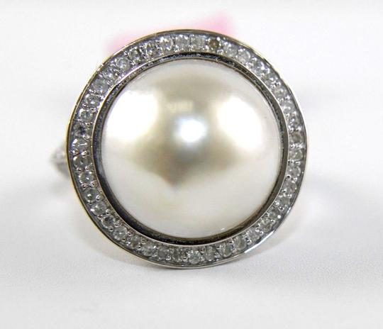Other Huge Mother of Pearl & Diamond Pave Halo Solitaire Ring 14k White Gold Image 3