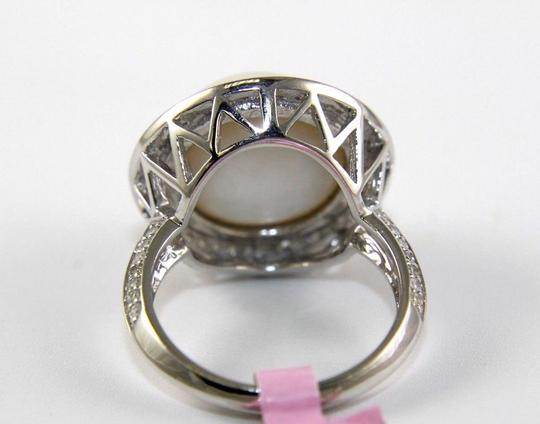Other Huge Mother of Pearl & Diamond Pave Halo Solitaire Ring 14k White Gold Image 5
