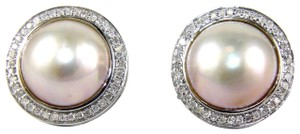 Other Mother of Pearl & Diamond Halo Stud Earrings 14k WG 13mm .70Ct