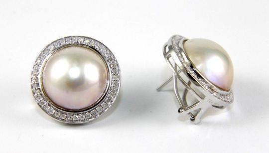 Other Mother of Pearl & Diamond Halo Stud Earrings 14k WG 13mm .70Ct Image 1