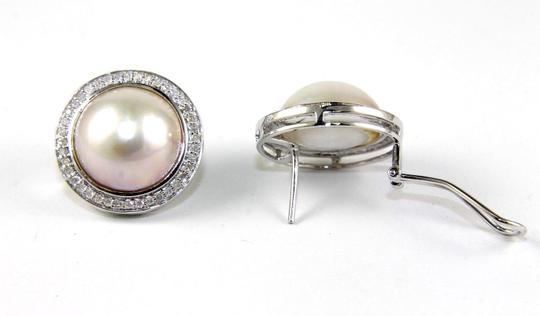 Other Mother of Pearl & Diamond Halo Stud Earrings 14k WG 13mm .70Ct Image 3