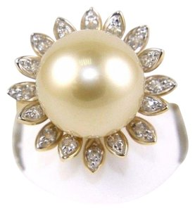 Other South Sea Pearl Solitaire Ring w/Diamond Leaf Halo 14k YG 12mm