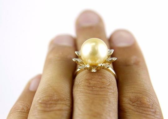Other South Sea Pearl Solitaire Ring w/Diamond Leaf Halo 14k YG 12mm Image 3