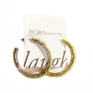 BCBGeneration HOOP LOOP NEON YELLOW GOLD FAUX STONE