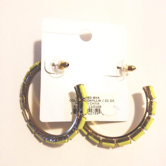 BCBGeneration HOOP LOOP NEON YELLOW GOLD FAUX STONE Image 3