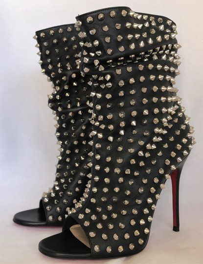 Christian Louboutin Pigalle Strass Thigh High Ankle Pump Black Boots Image 1