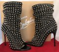 Christian Louboutin Pigalle Strass Thigh High Ankle Pump Black Boots Image 2