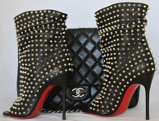 Christian Louboutin Pigalle Strass Thigh High Ankle Pump Black Boots Image 3