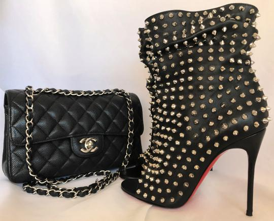 Christian Louboutin Pigalle Strass Thigh High Ankle Pump Black Boots Image 8
