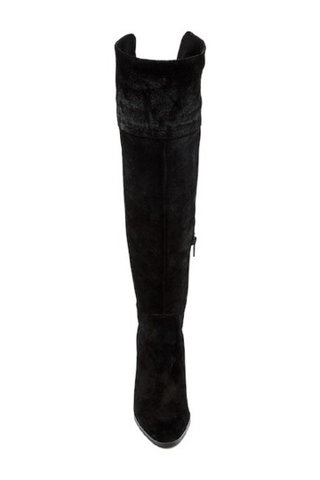 Arturo Chiang Suede Leather Over The Knee Black Boots Image 2
