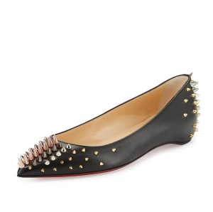 Christian Louboutin Spiked Red Sole Made In Italy Pointed Toe Luxury Black Flats