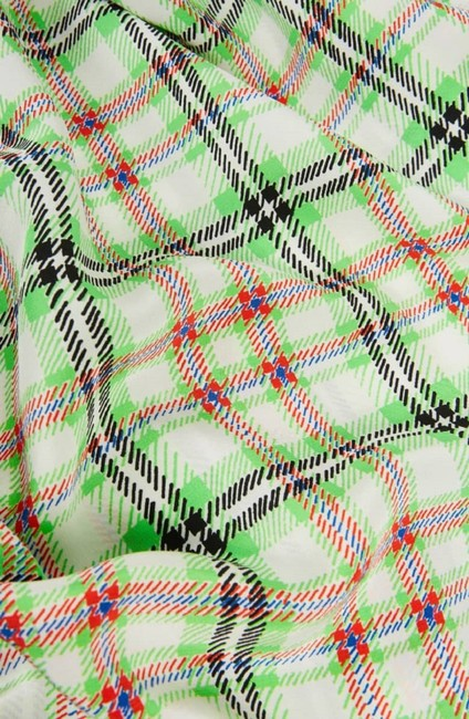 Topshop Checkered Silk Top White and Green Image 3