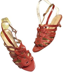 Circa Joan & David Strappy Ankle Strap Patent Leather Rust Sandals