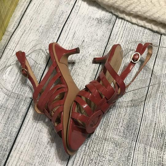 Circa Joan & David Strappy Ankle Strap Patent Leather Rust Sandals Image 4