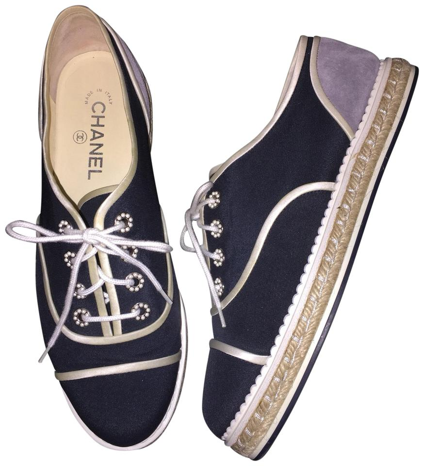 c7c876c6cee8 Chanel Gray Lace Up Oxfords Espadrilles Navy Grey 16c Pearl Grosgrain Cap  Toe Crepe Cc Suede Sneakers G31345 Sneakers