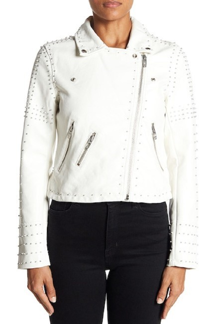 BlankNYC Floral Studded Faux Leather Moto Motorcycle Jacket Image 2