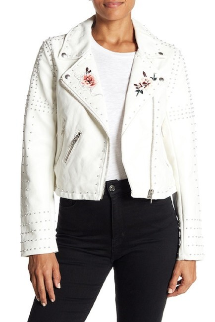 BlankNYC Floral Studded Faux Leather Moto Motorcycle Jacket Image 3