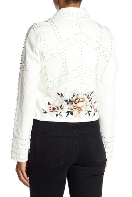 BlankNYC Floral Studded Faux Leather Moto Motorcycle Jacket Image 7