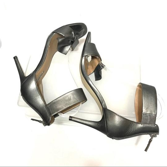 Tahari Bow Accent Ankle Strap Back Zip Closure Gray Sandals Image 2