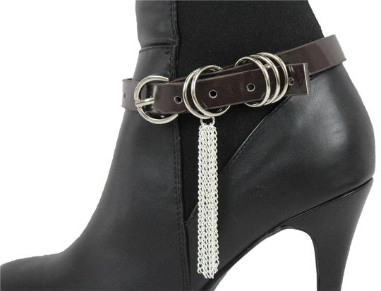 Preload https://img-static.tradesy.com/item/24216186/dark-brown-women-boot-shoe-faux-leather-strap-buckle-silver-chains-bracelet-0-1-540-540.jpg