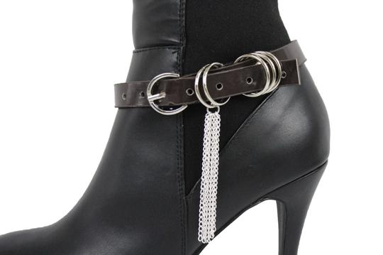 Alwaystyle4you Women Boot Bracelet Shoe Brown Faux Leather Strap Buckle Silver Chains Image 11