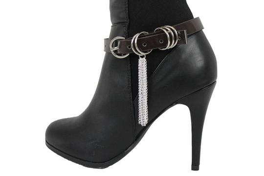 Alwaystyle4you Women Boot Bracelet Shoe Brown Faux Leather Strap Buckle Silver Chains Image 2