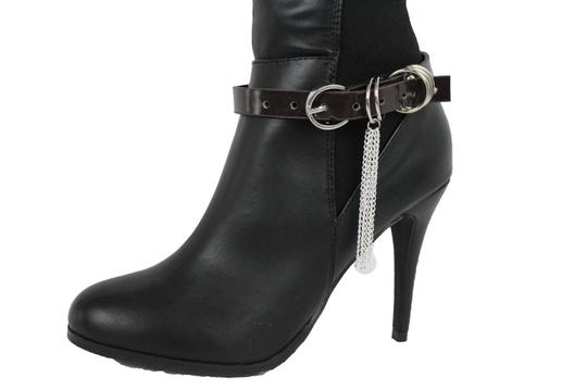 Alwaystyle4you Women Boot Bracelet Shoe Brown Faux Leather Strap Buckle Silver Chains Image 6