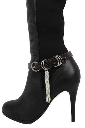 Alwaystyle4you Women Boot Bracelet Shoe Brown Faux Leather Strap Buckle Silver Chains Image 7