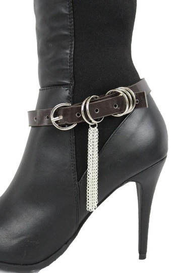Alwaystyle4you Women Boot Bracelet Shoe Brown Faux Leather Strap Buckle Silver Chains Image 9