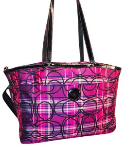 Coach Tote in Purple, Pink, Black