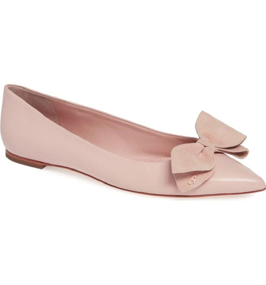 38953f31f791 Tory Burch Pink Rosalind Suede Bow Pointy Toe Leather Flats Size US ...