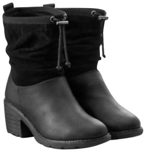 EMU Australia Leather Suede Round Toe Black Boots